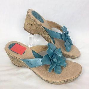 NWOB BOC Born Blue Leather Flower Wedge Sandals
